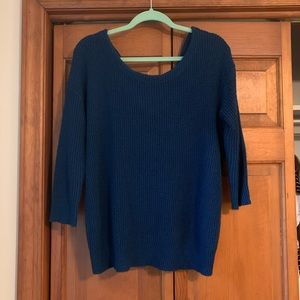 Express Knotted Back Blue Green Sweater-MEDIUM